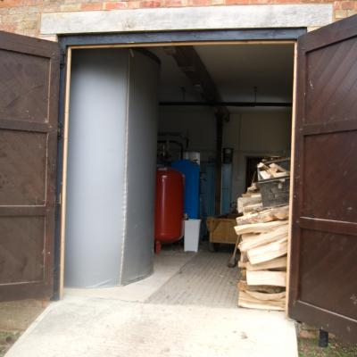 The biomass boiler.