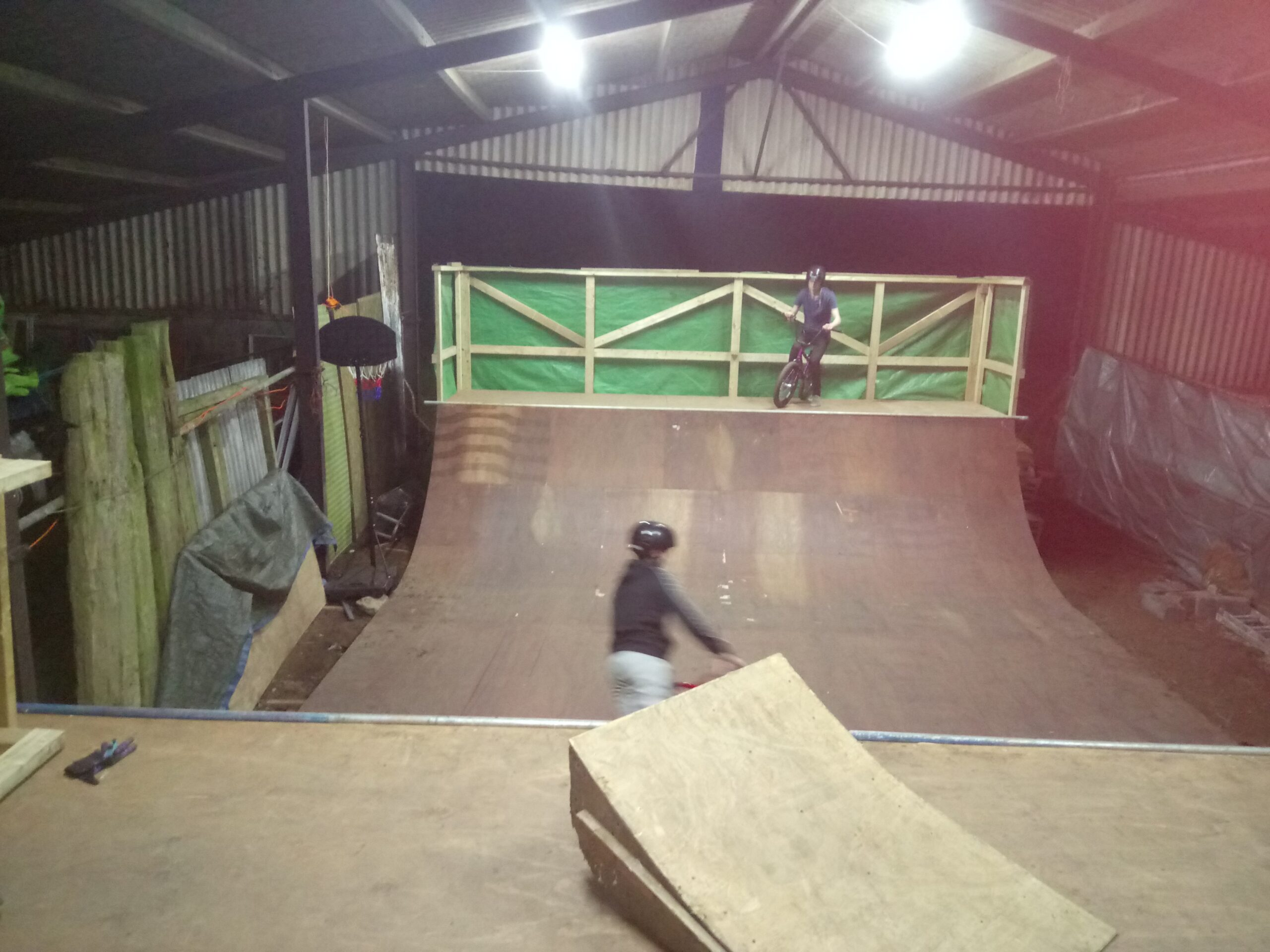 Ramp pic scooter and BMX rider